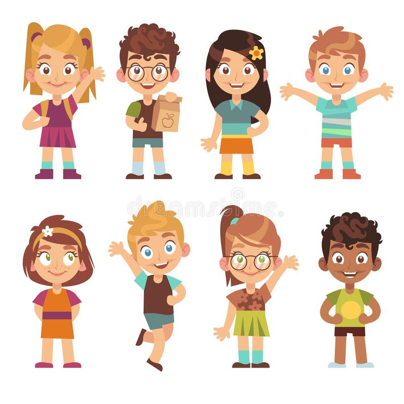 Gullig tecknad filmungeuppsättning Barnflickapojkar som står lycklig tonår för ungestående, grupperar roliga förskole- barntecken vektor illustrationer