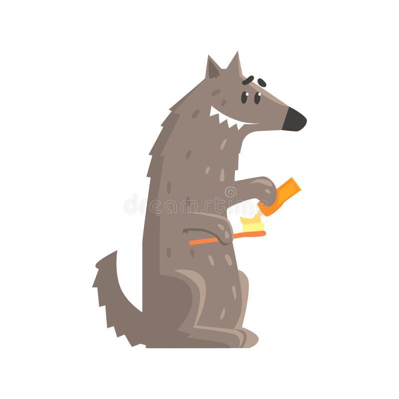 Gullig tecknad filmvarg som rymmer en tandborste och ett färgrikt tecken för tandkräm, djur ansavektorillustration vektor illustrationer