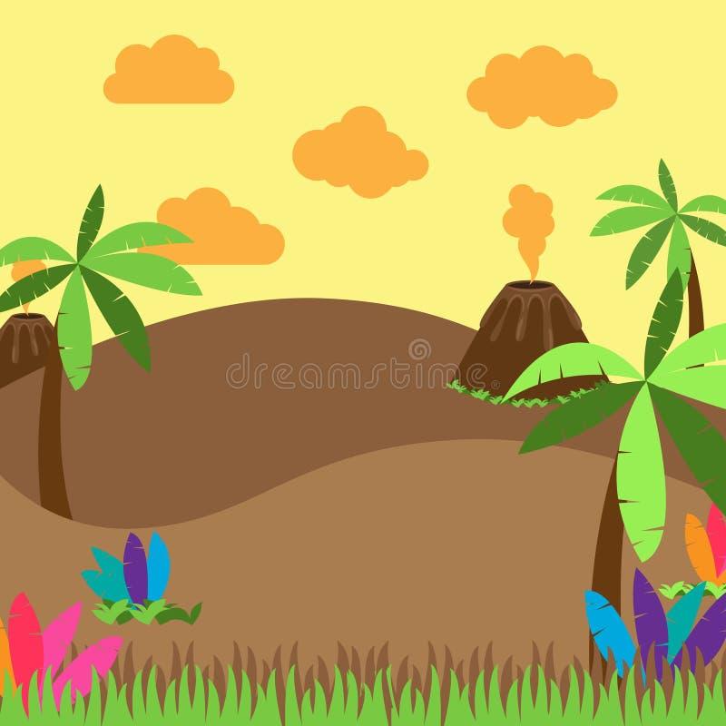 Gullig tecknad filmvektorbakgrund av öknen, djungeln eller det forntida landskapet vektor illustrationer
