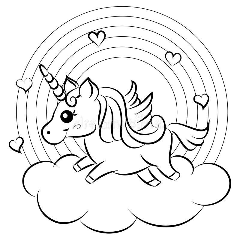 Gullig tecknad filmvektorenhörning med regnbågefärgläggningsidan royaltyfri illustrationer