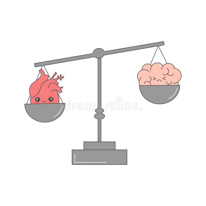 Gullig tecknad filmvektorhjärta och hjärna på rolig begreppsillustration för våg stock illustrationer