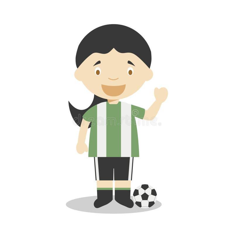 Gullig tecknad filmvektorillustration av en fotbollsspelare E vektor illustrationer