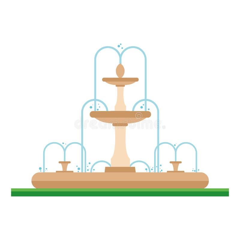 Gullig tecknad filmvektorillustration av en springbrunn i parkera royaltyfri illustrationer