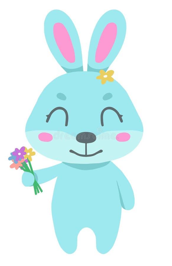 Gullig tecknad filmvektorteckning av en le blå kanin som rymmer en vårblommabukett i hand vektor illustrationer
