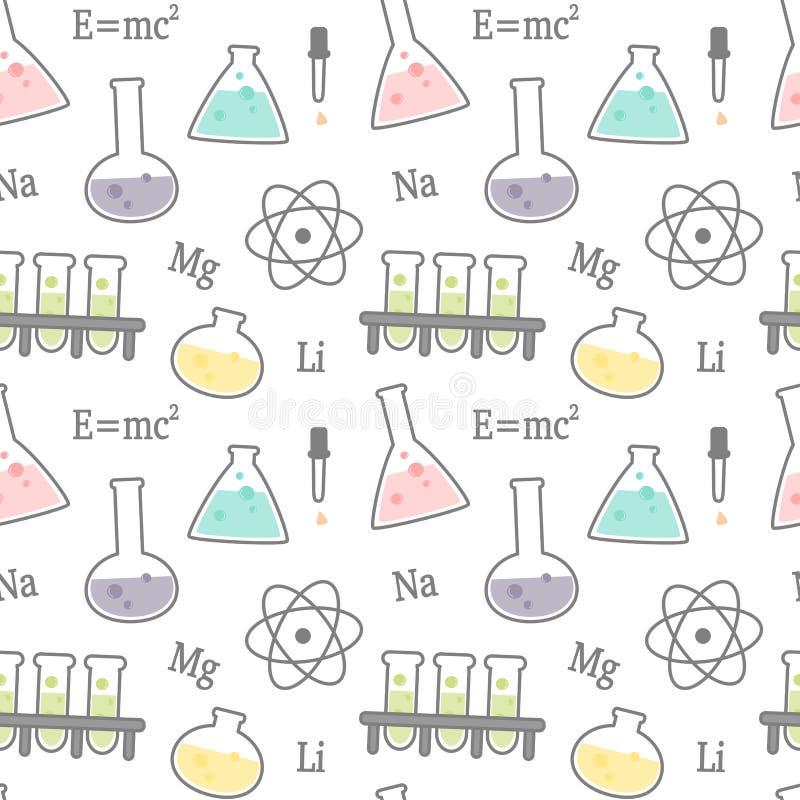 Gullig tecknad filmvetenskap och den kemiska släkta sömlösa vektorn mönstrar bakgrundsillustrationen vektor illustrationer