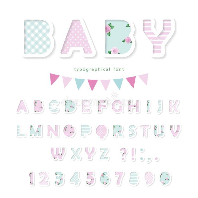 Gullig textilstilsort i pastellfärgade rosa färger och blått För födelsedag beklär baby shower, dekorativa beståndsdelar stock illustrationer