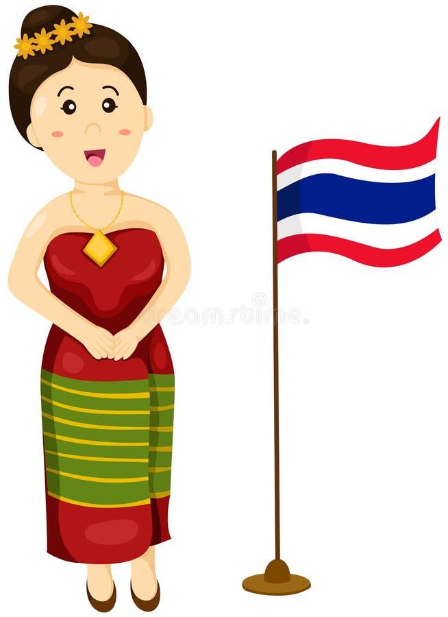 Gullig thailändsk flicka i traditionell klänning royaltyfri illustrationer