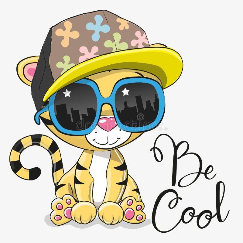Gullig tiger med solexponeringsglas royaltyfri illustrationer