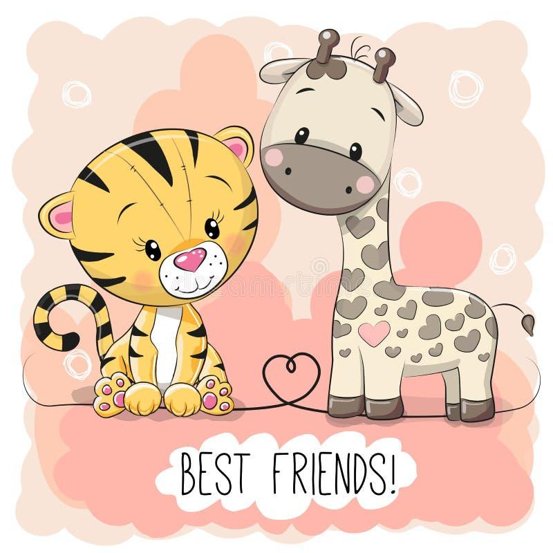 Gullig tiger och Giraffel stock illustrationer