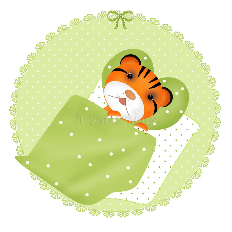 Gullig tiger som sover vit stock illustrationer