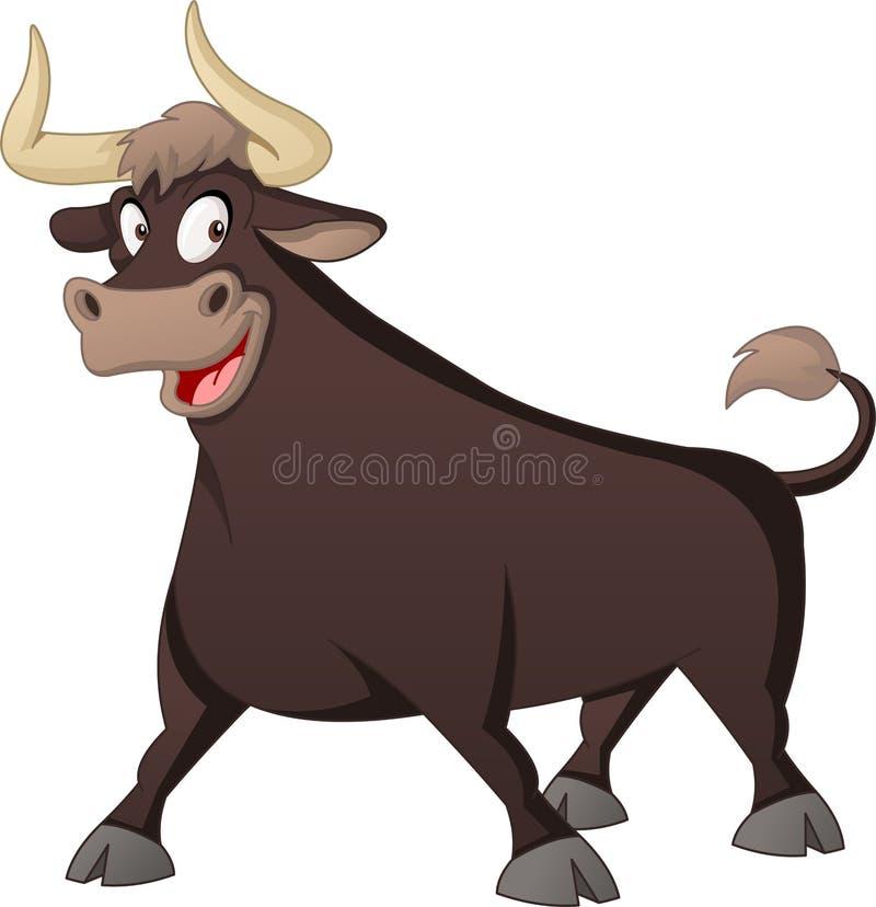 Gullig tjur för tecknad film Vektorillustration av det roliga lyckliga djuret vektor illustrationer
