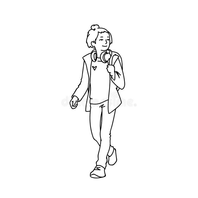 Gullig tonårig flicka med hörlurar och att ta för ryggsäck att gå Monokrom vektorillustration av den tonårs- flickan i omslag royaltyfri illustrationer