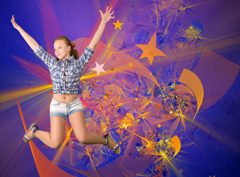 Gullig tonårig flicka som har det roliga partiet fotografering för bildbyråer