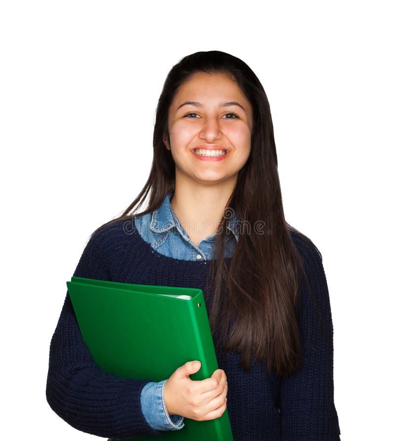 Gullig tonåring som ler på vit bakgrund arkivbild