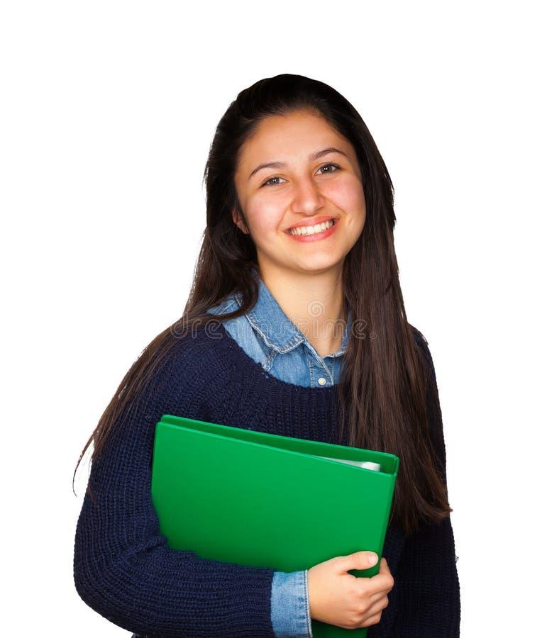 Gullig tonåring som ler på vit bakgrund arkivbilder