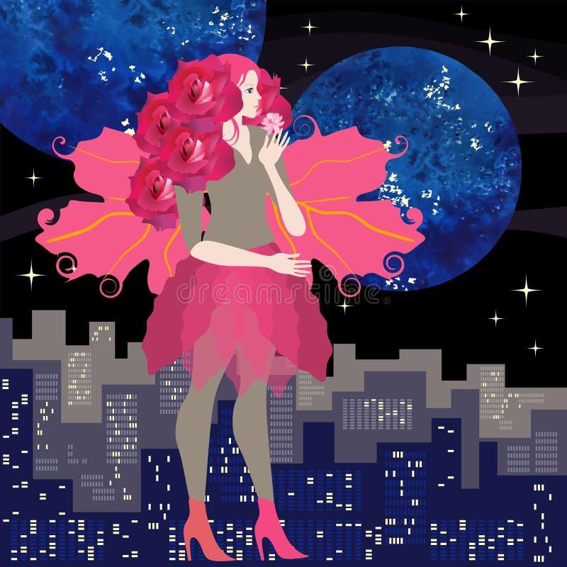 Gullig tonårs- flicka med lockigt hår i form av rosor och karmosinröda vingar i formen av viburnumsidor, med den rosa blomman stock illustrationer