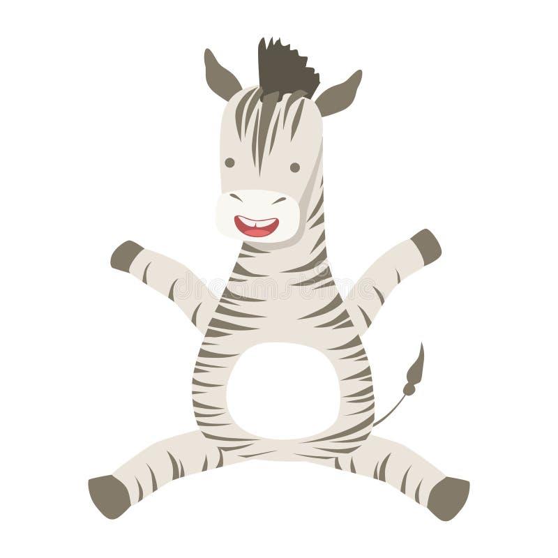 Gullig Toy Animal With Detailed Elements för sebra del av faunasamlingen av barnsliga vektorklistermärkear stock illustrationer