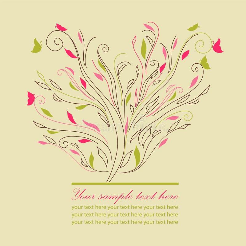 Gullig treevektor för Swirl royaltyfri illustrationer