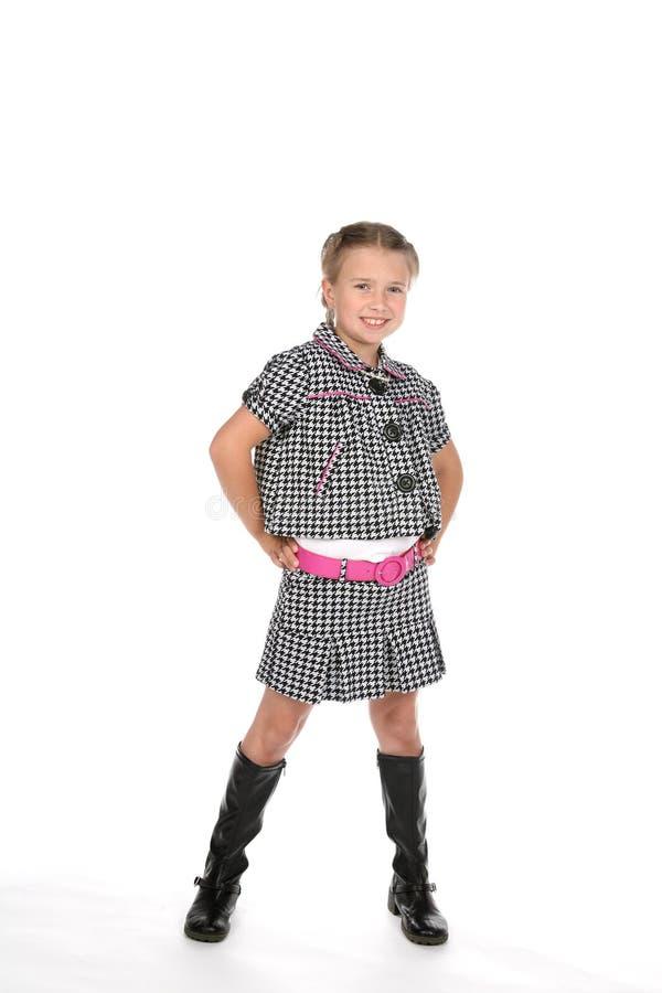 gullig trendig flickadräkt royaltyfri bild