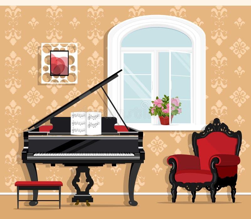 Gullig trendig vardagsrum med pianot, fåtölj, fönster, blomkruka, liten stol Stilfull grafisk rumuppsättning Plan stil stock illustrationer
