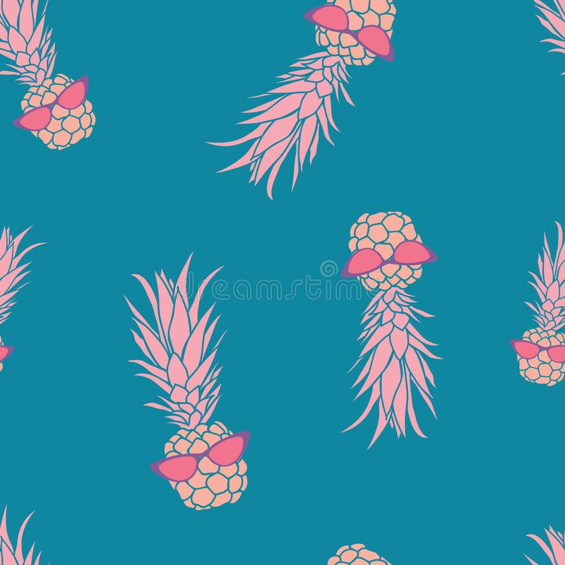 Gullig tropisk ananas med solglasögon lämnar sömlös modelldesign royaltyfri illustrationer