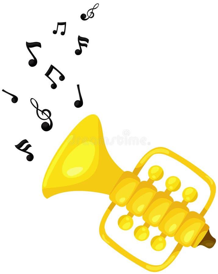 Gullig trumpet med melodi vektor illustrationer