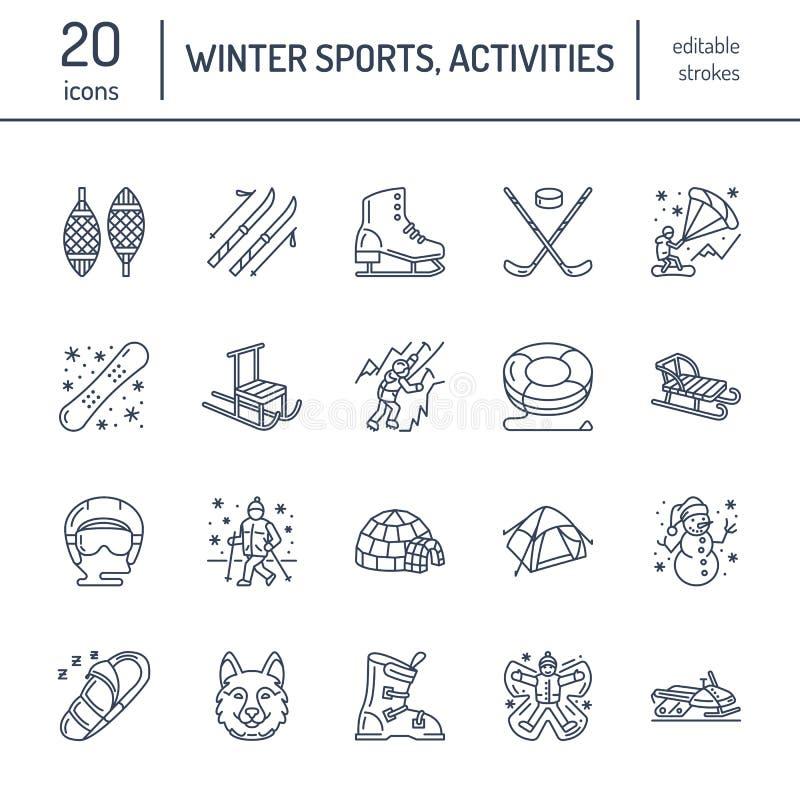 Gullig tunn linje symboler av vintersportar Vektorbeståndsdelar för utomhus- aktiviteter - snowboard, hockeysläde, skridskor, snö stock illustrationer
