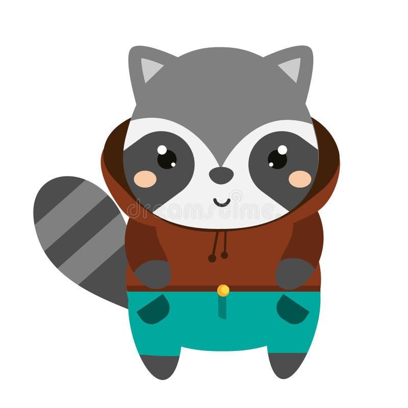 Gullig tvättbjörn i hoodie Tecken för tecknad filmkawaiidjur royaltyfri illustrationer