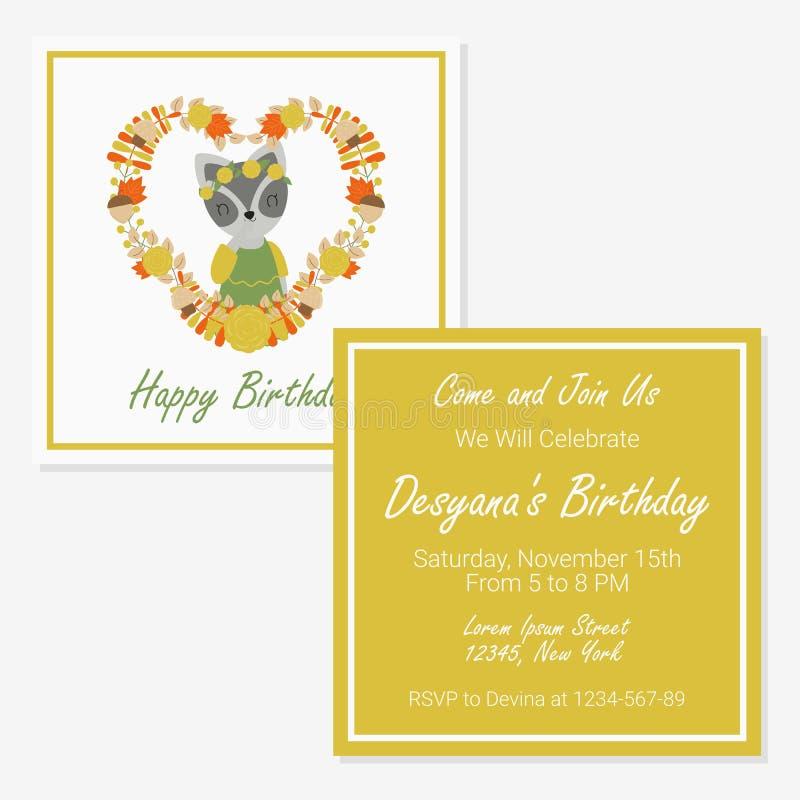 Gullig tvättbjörnflicka på den blom- förälskelsekransen som är passande för födelsedagkortdesign stock illustrationer