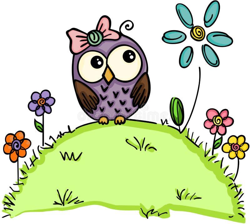 Gullig uggla i en trädgård med blommor vektor illustrationer