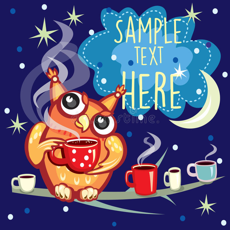 Gullig uggla med koppen kaffe vektor illustrationer
