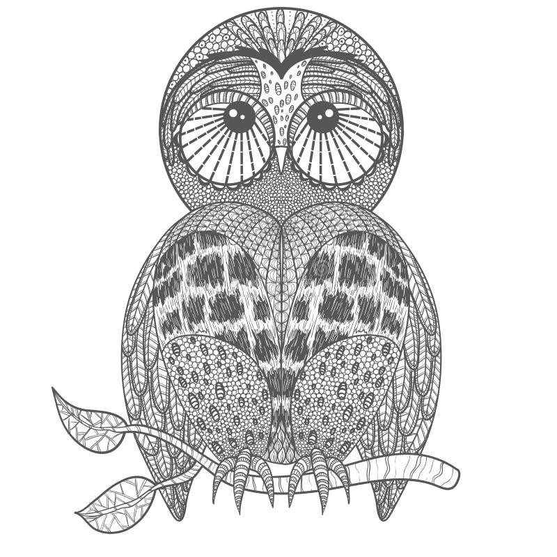 Gullig uggla på trädfilial stock illustrationer
