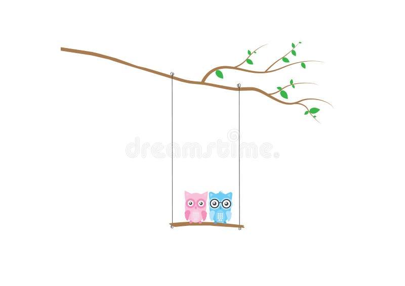 Gullig ugglakontur på gunga på filialvektorn, ugglor på gunga på tre, färgrika väggdekaler, barnväggkonst, ungar Art Decor stock illustrationer