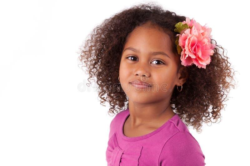 Gullig ung afrikansk asiatisk flicka fotografering för bildbyråer
