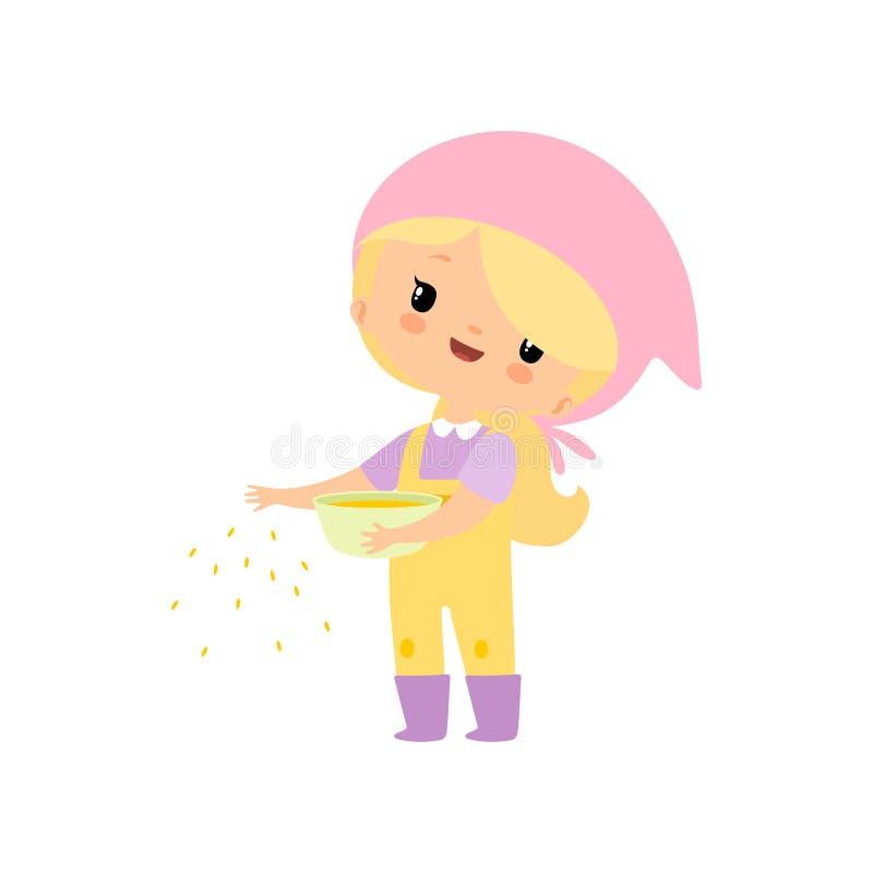 Gullig ung flicka i overaller och gummistöveler som matar höns med korn, bondeGirl Cartoon Character vektor royaltyfri illustrationer