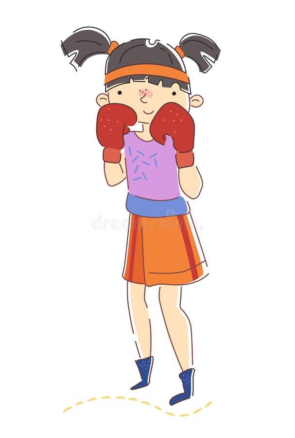 Gullig ung flickaboxare med råttsvansar som bär röda boxas handskar som rymmer hennes nävar i den defensiva positionen isolerade  royaltyfri illustrationer