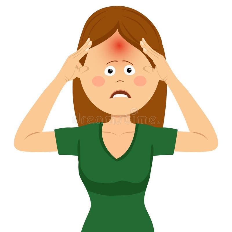 Gullig ung kvinna som har stark huvudvärk vektor illustrationer