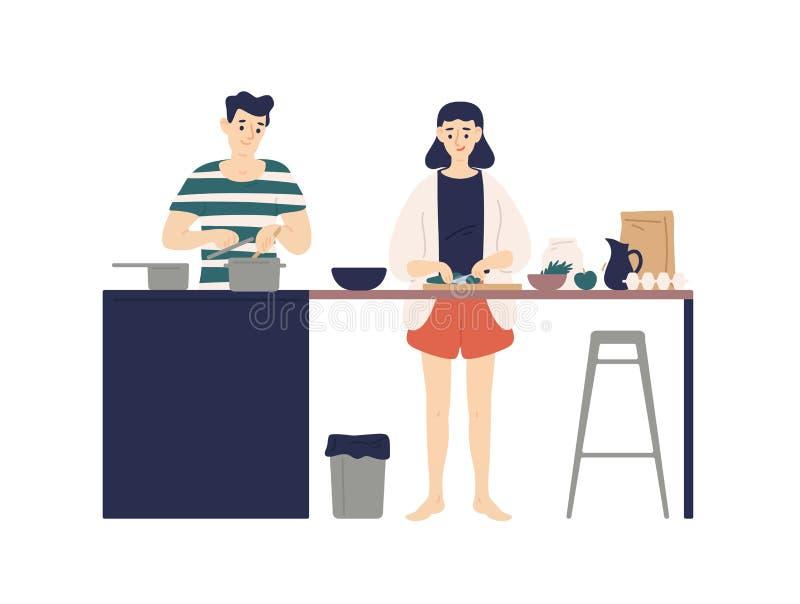 Gullig ung man och kvinna som lagar mat mål i kök Le pojken och flicka som tillsammans gör lunch eller matställe hemma dagligt royaltyfri illustrationer