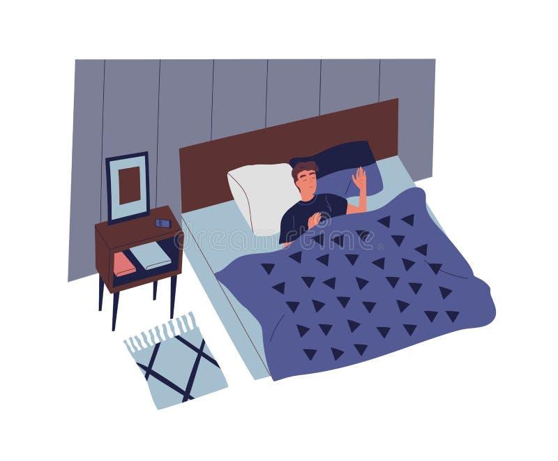 Gullig ung man som sover i sovrum på natten Manligt tecken som ligger i bekväm säng och sovande faller Vila och royaltyfri illustrationer