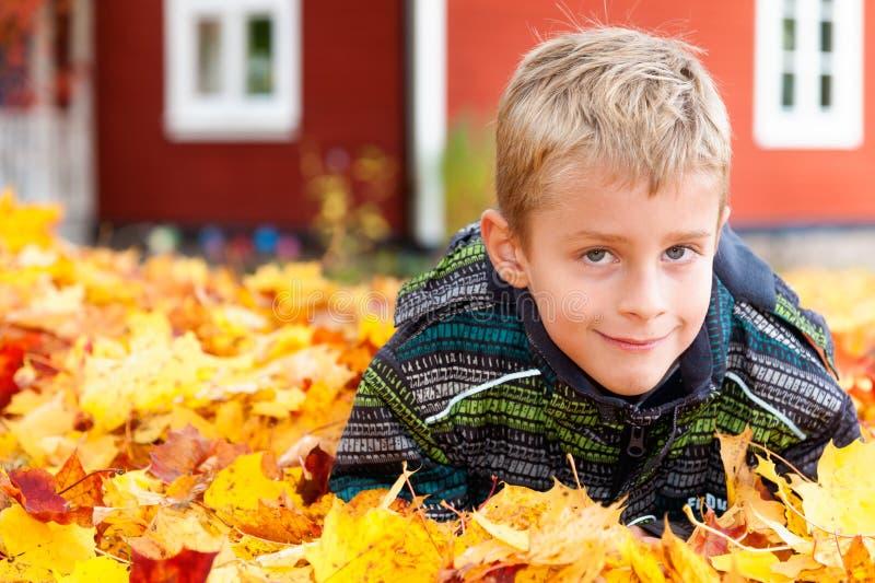 Gullig ung pojke som leker i höstleaves royaltyfri foto