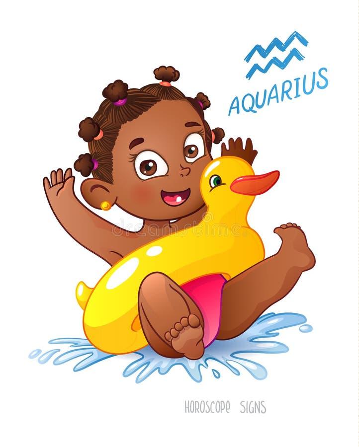 Gullig unge som bevattnar blomman Afrikansk amerikanbarnet tycker om att simma bevattna den uppblåsbara anden för den gyckel-, pl royaltyfri illustrationer