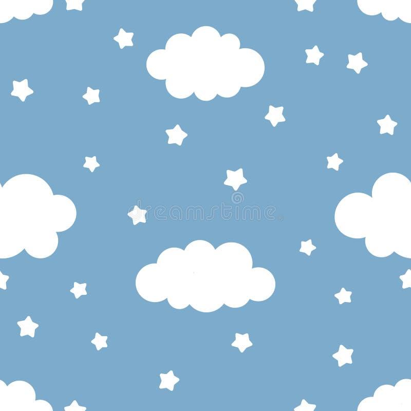 Gullig ungeillustration av natthimmel med moln och stjärnor royaltyfri fotografi