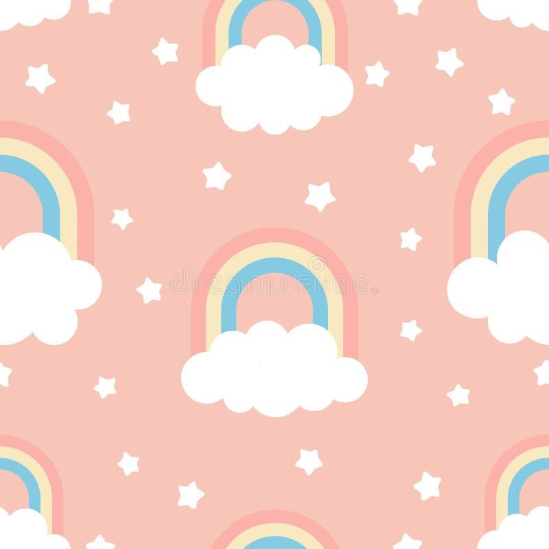 Gullig ungeillustration med moln, regnbågen och stjärnor royaltyfria foton