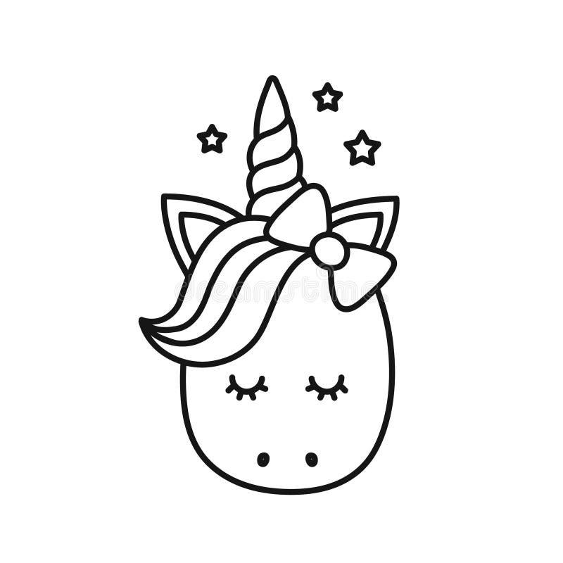 gullig unicorn Vektortecknad filmtecken stock illustrationer