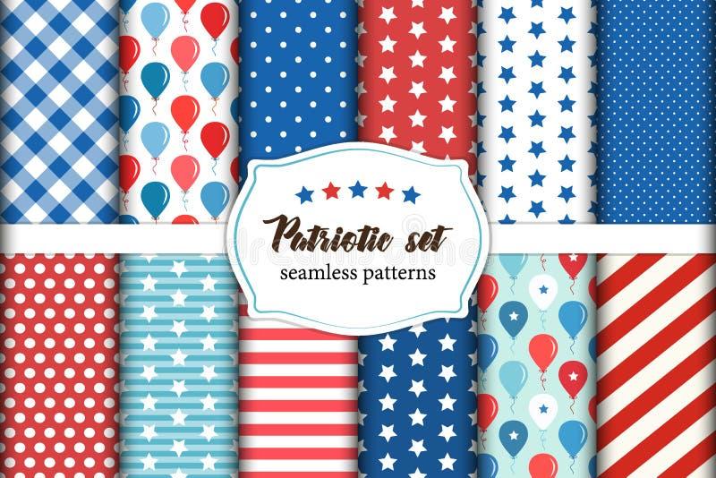 Gullig uppsättning av amerikanskt patriotiskt rött, vit och blåa geometriska sömlösa modeller med stjärnor stock illustrationer