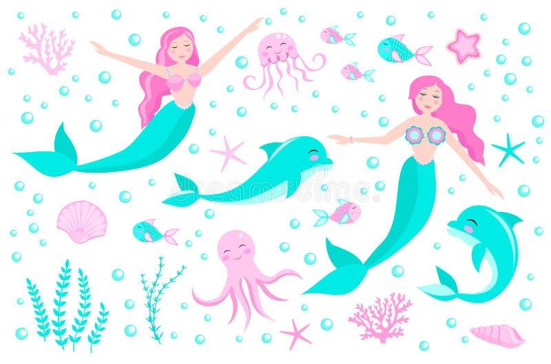 Gullig uppsättning av sjöjungfruprinsessan och delfin, bläckfisk, fisk, manet, korall Undervattens- v?rldssamling vektor royaltyfri illustrationer