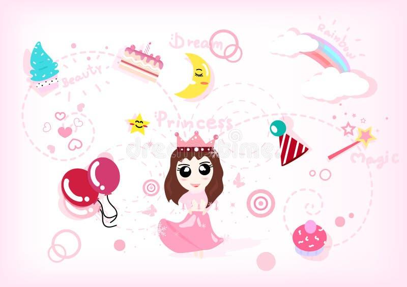 Gullig uppsättning, beröm, parti och holid för prinsessaberättelsesamling vektor illustrationer