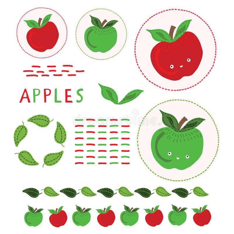 Gullig uppsättning för clipart för äpplevektorillustration Äpplen för utdragen kawaii för hand fnoskiga hela stock illustrationer