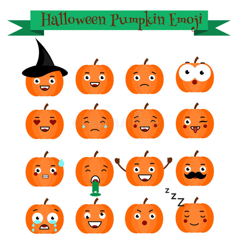 Gullig uppsättning för halloween pumpaemoji Emoticons klistermärkear, designelemets stock illustrationer