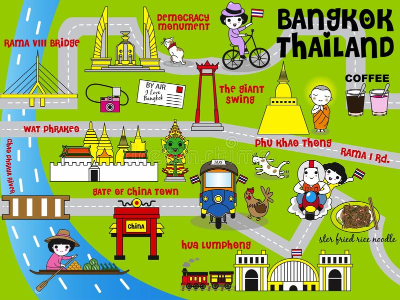 Gullig uppsättning för illustration för Bangkok Thailand handboköversikt royaltyfri illustrationer